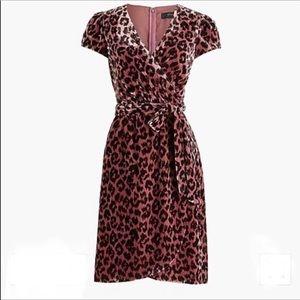 J. Crew Velvet Leopard Print Faux Wrap Dress